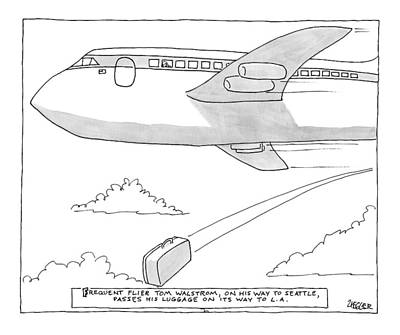 Plane Drawing - A Man Looks Out The Window Of An Airplane by Jack Ziegler