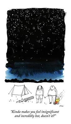 Sky Drawing - A Man Looks Up At The Night Sky by Edward Steed