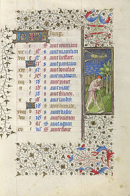 1420 Painting - A Man Mowing Unknown Paris, France, Europe About 1415 - by Litz Collection