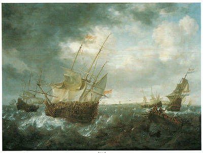A Man-of-war Lowering Sails As A Storm Approaches Art Print by Jan Peeters