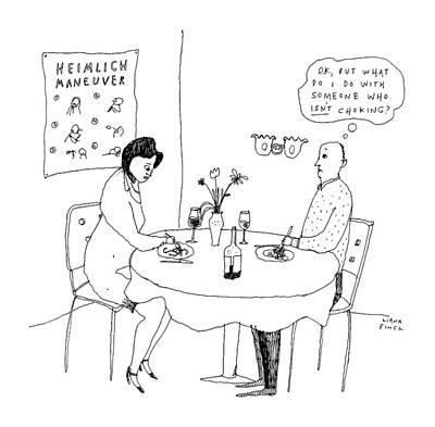 Awkward Wall Art - Drawing - A Man On A Date by Liana Finck