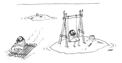 Edward-steed Drawing - A Man On A Raft Paddles Away From A Desert Island by Edward Steed