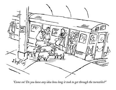 Sheep Drawing - A Man On The Subway Platform With Five Sheep by Sidney Harris