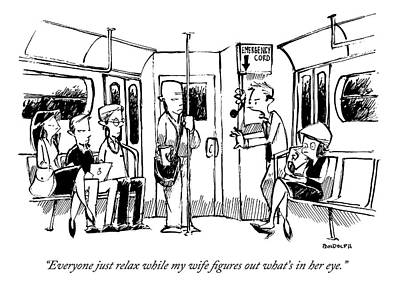 Corey Pandolph Drawing - A Man On The Subway Speaks To Other Passengers by Corey Pandolph