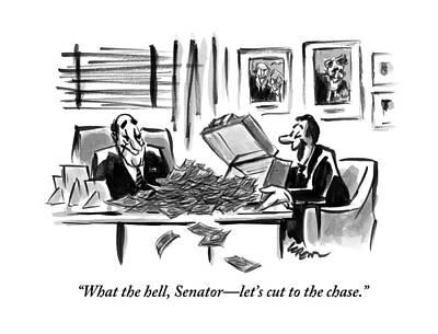 Washington Senators Drawing - A Man Opens A Briefcase Full Of Cash by Lee Lorenz