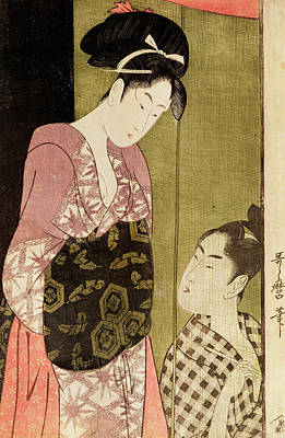 Painter Photograph - A Man Painting A Woman Woodblock Print by Kitagawa Utamaro