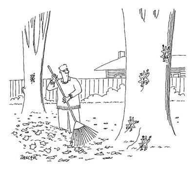 Fall Leaves Drawing - A Man Rakes Leaves While Four Leaves Scurry by Jack Ziegler