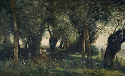 A Man Scything By A Willow Grove, Artois, C.1855-60 Oil On Canvas Art Print