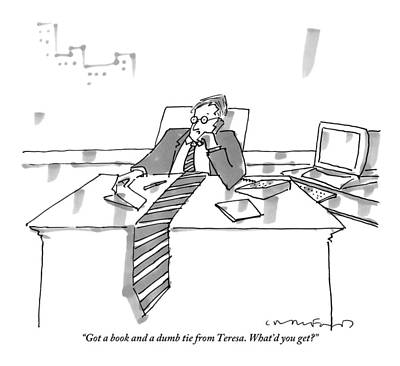A Man Sits At His Office Desk On The Phone Art Print by Michael Crawford