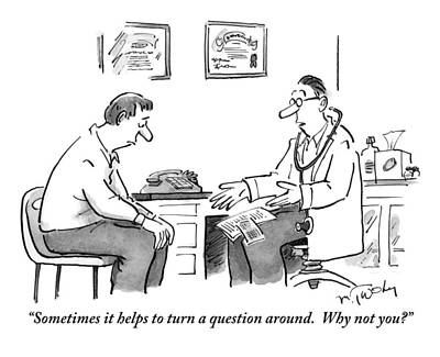 Questions Drawing - A Man Sits In A Doctor's Office Talking by Mike Twohy