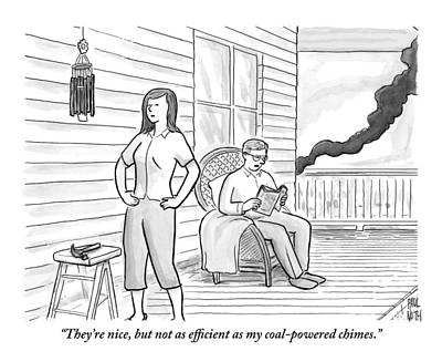 Friendly Drawing - A Man Sits On The Porch by Paul Noth