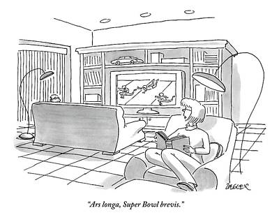 Football Drawing - A Man Sitting On A Couch Watching The Super Bowl by Jack Ziegler