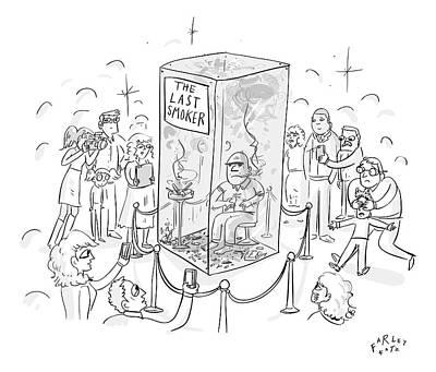A Man Smokes Cigarettes In A Glass Box Art Print by Farley Katz
