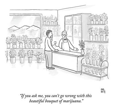 Shop Drawing - A Man Speaks With An Assistant At A Flower Shop by Paul Noth