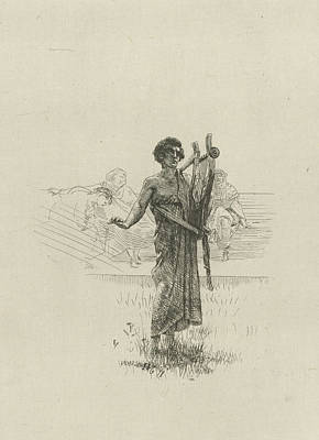 Alma Drawing - A Man Stands In A Field, Print Maker Lourens Alma Tadema by Artokoloro