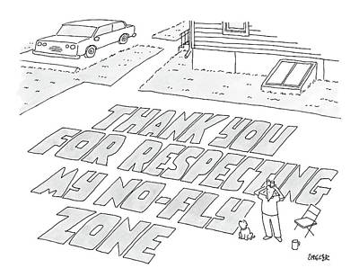 Graffiti Drawing - A Man Stands In His Back Yard Where The Words by Jack Ziegler