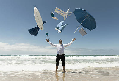 Pant Suit Photograph - A Man Stands In The Ocean With Items by Ben Welsh