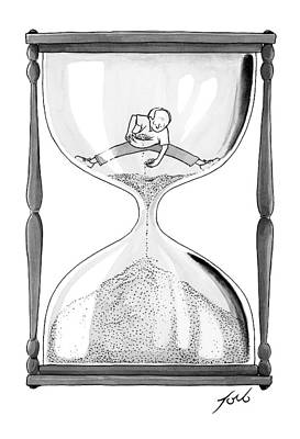 Hourglass Drawing - A Man Stands In The Top Half Of An Hourglass by Tom Toro
