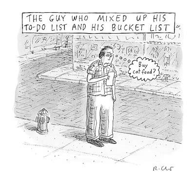 Drawing - A Man Stares At A Piece Of Paper And Thinks Buy by Roz Chast