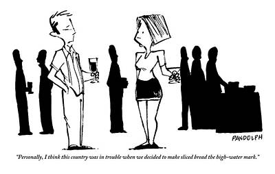 Benchmark Drawing - A Man Talking To A Woman At A Dinner Party by Corey Pandolph