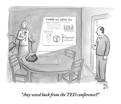 April 23rd Drawing - A Man Talks To A Woman Who Looks Irate And Seems by Paul Noth