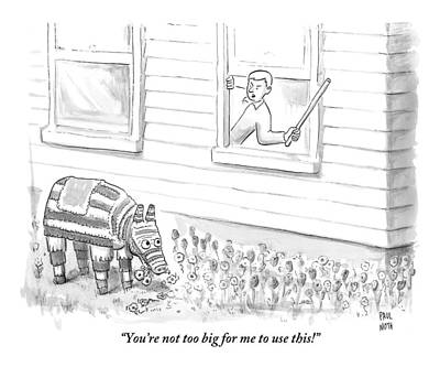 A Man Threatens A Pinata That Is Sitting Art Print by Paul Noth