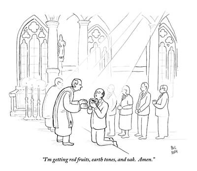 Communion Drawing - A Man To Priest As He Drinks The Wine by Paul Noth