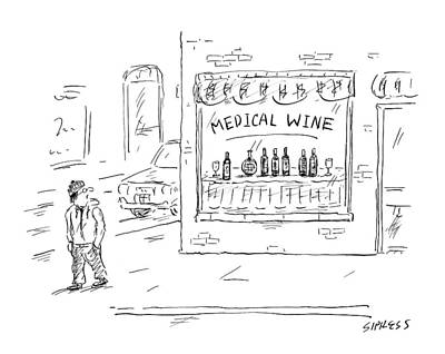Wine Drawing - A Man Walks By A Liquor Store With The Sign by David Sipress