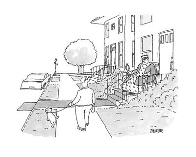 Stoops Drawing - A Man Walks His Dog Past A King Sitting by Jack Ziegler