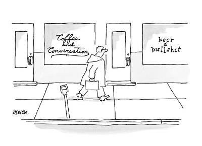 Beer Drawing - A Man Walks Past Two Shops by Jack Ziegler