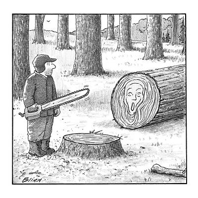 Ring Drawing - A Man Who Has Just Cut Down A Tree Sees That by Harry Bliss