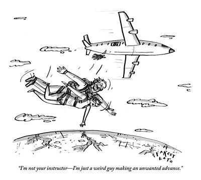 Instructors Drawing - A Man Who Is Skydiving Lands On Top Of A Woman by Farley Katz
