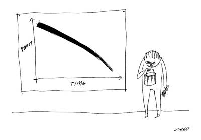 Paint Drawing - A Man With A Paint Bucket Stands By A Graph by Edward Steed