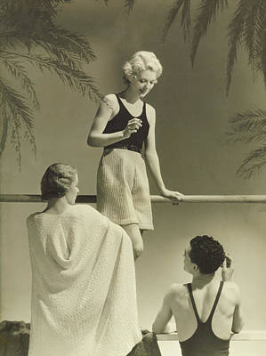Vogel Wall Art - Photograph - A Man With Peggy Leaf And Marie-claude Vogel by Horst P. Horst