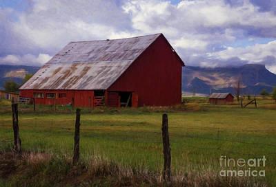 Blue Barn Doors Digital Art - A Mancos Valley Barn by Priscilla Burgers