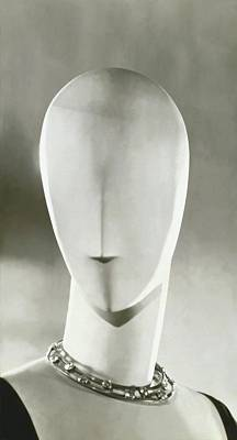 A Mannequin Wearing A Jean Fouquet Necklace Art Print by George Hoyningen-Huene