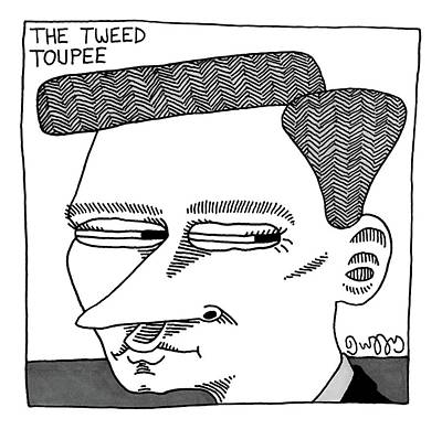 J C Duffy Drawing - A Man's Head With A Tweed Toupee by J.C.  Duffy