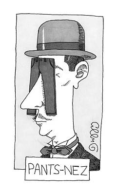 J C Duffy Drawing - A Man's Head With Tiny Pants Hanging by J.C.  Duffy