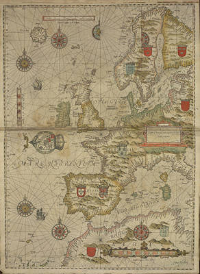 Cartographic Photograph - A Map Of Britain And Western Europe by British Library