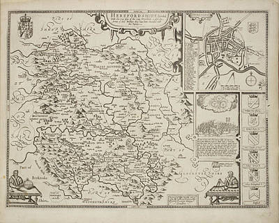 A Map Of Herefordshire Drawn In 1714 Art Print