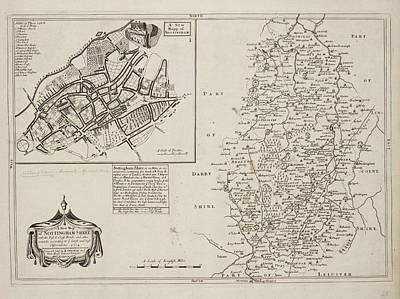 A Map Of Nottinghamshire Art Print by British Library