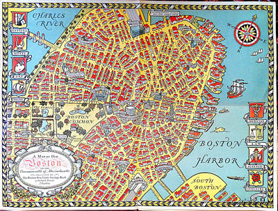 Boston Painting - A Map Of Old Boston In The Commonwealth Of Massachusetts by Celestial Images