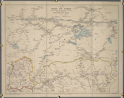 Part Of Photograph - A Map Of Part Of Tibet by British Library