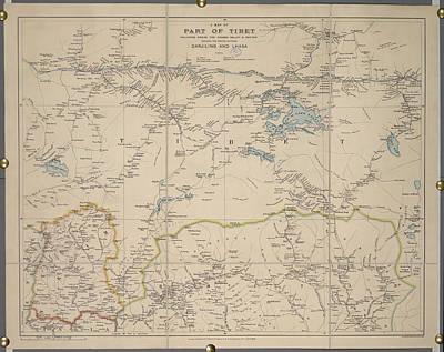 A Map Of Part Of Tibet Art Print