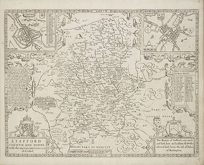 A Map Of Staffordshire Art Print by British Library