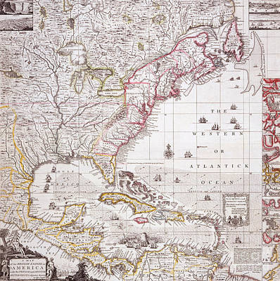 Settlements Painting - A Map Of The British Empire In America With The French Settlements Adjacent Thereto by Henry Popple