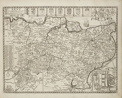 A Map Of The County Of Kent Art Print by British Library
