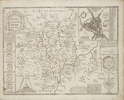 A Map Of The County Of Worcestershire Art Print by British Library