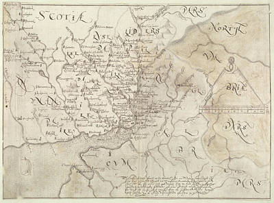 Cartographic Photograph - A Map Of The English And Scottish Borders by British Library