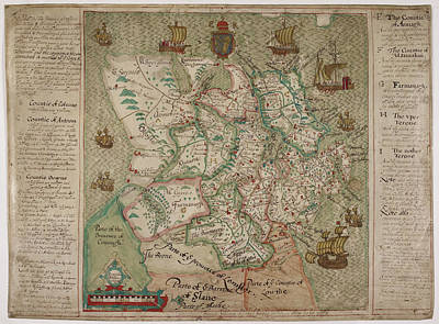 Cartography Photograph - A Map Of Ulster by British Library